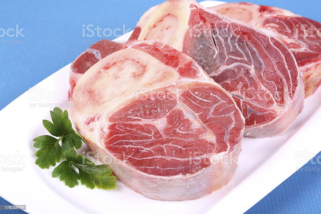 Three fresh beef shanks royalty-free stock photo