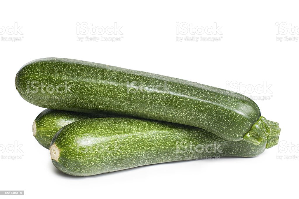 Three fresh courgettes. royalty-free stock photo