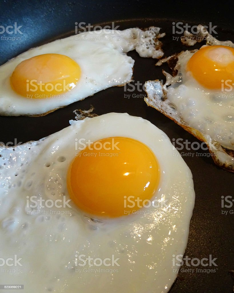Three fried eggs being cooked in non-stick frying pan, breakfast stock photo
