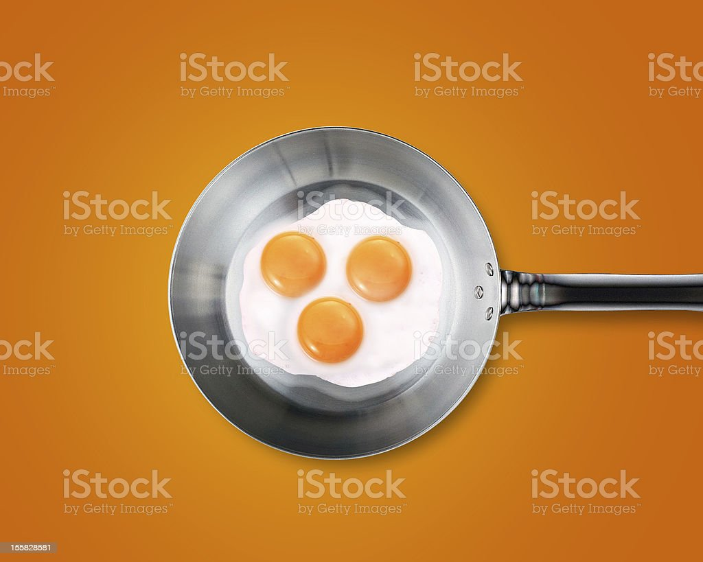 Three Fried eggs in a frying pan royalty-free stock photo