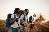 Three Friends Hiking Together.