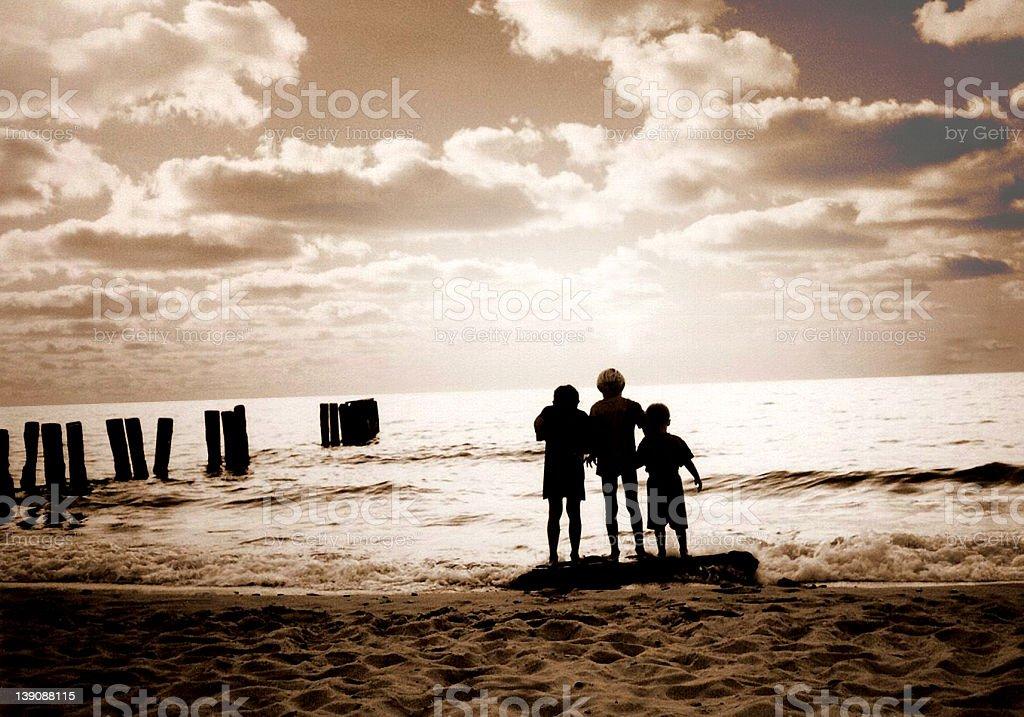 Three friends on the beach royalty-free stock photo