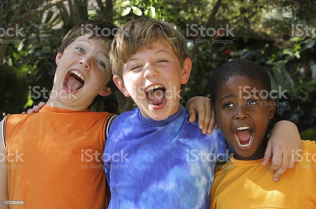 Three Friends Shouting royalty-free stock photo