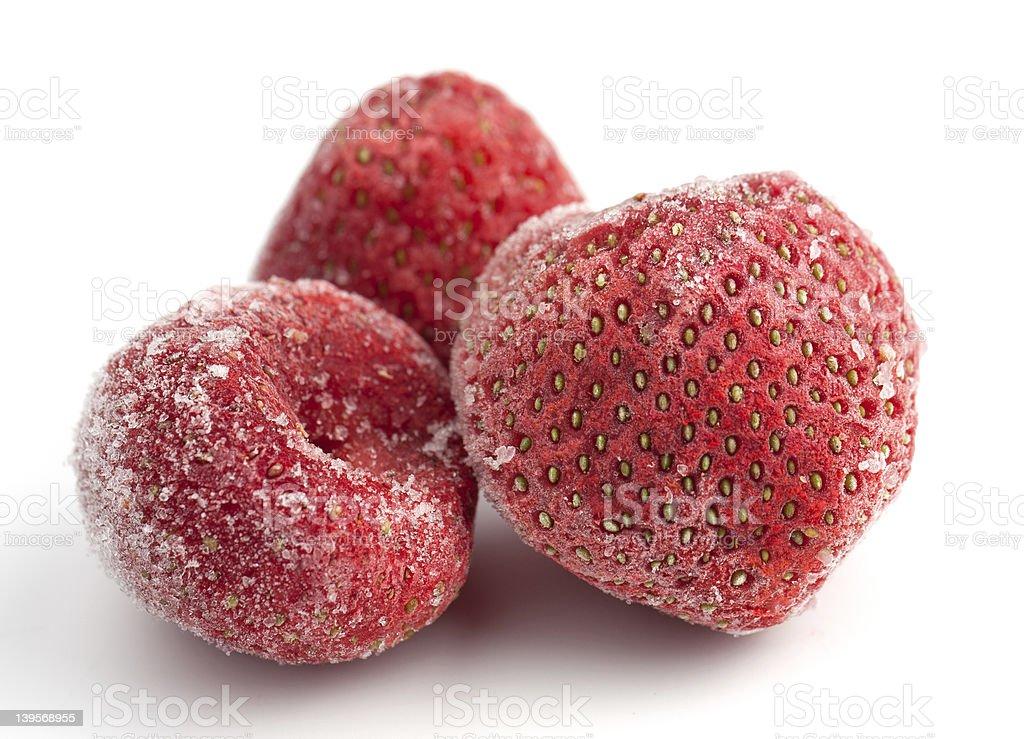 Three Frozen Strawberries royalty-free stock photo