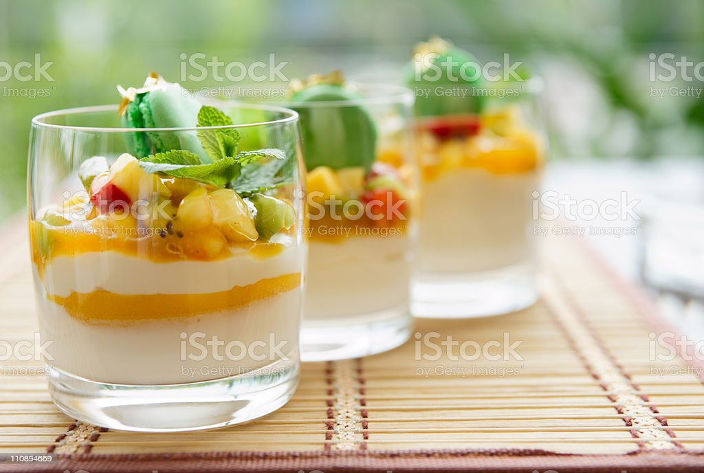 Three fruit cocktails stock photo