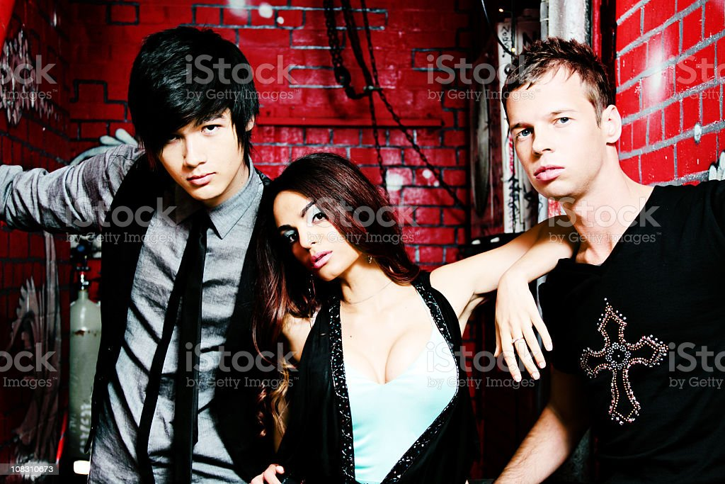 Three Funky Youths In An Alley royalty-free stock photo