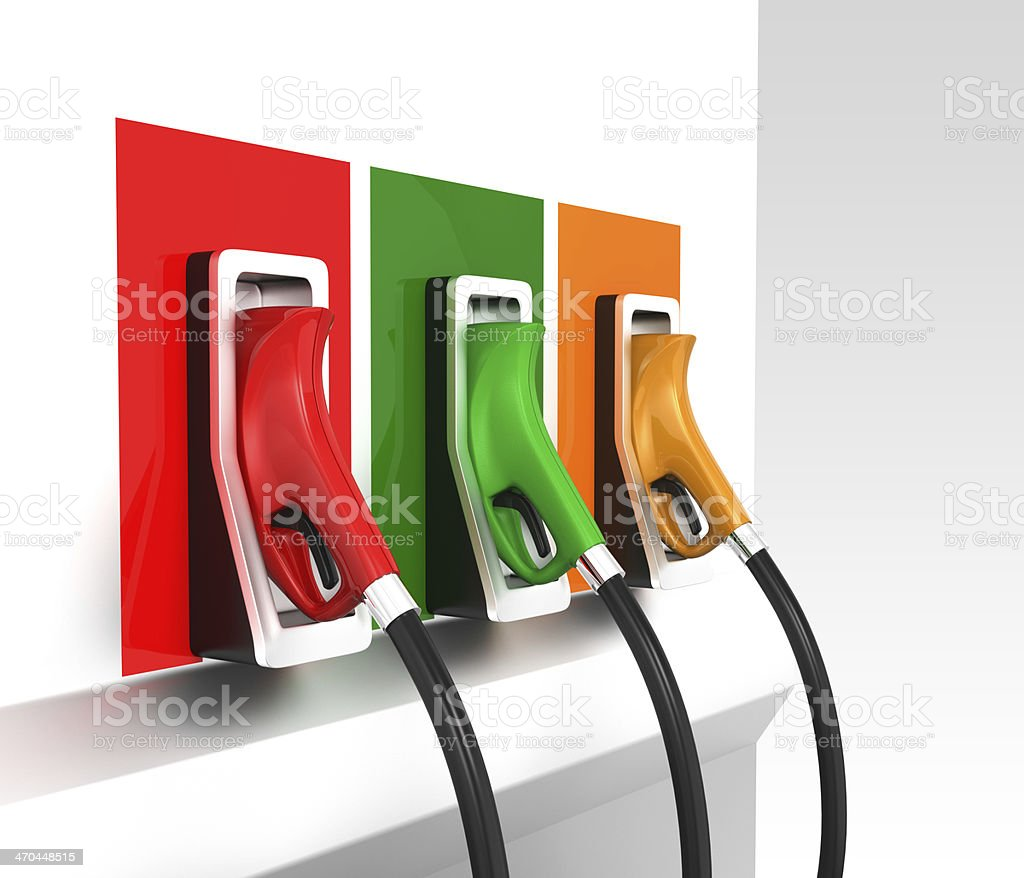 Three gas nozzles in service station stock photo