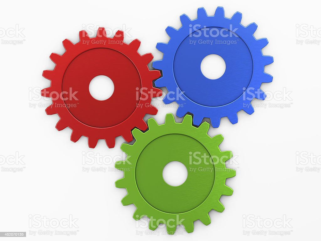three gear to place concepts stock photo