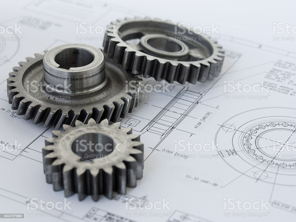 Three gears on a project stock photo