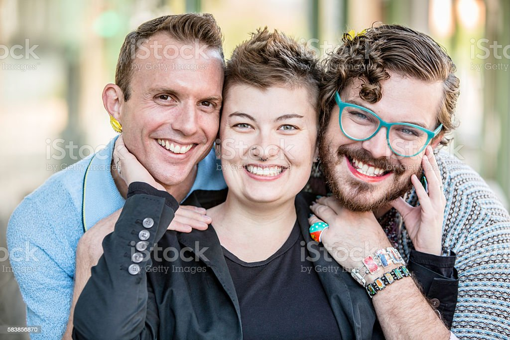 Three Gender Fluid Young People stock photo