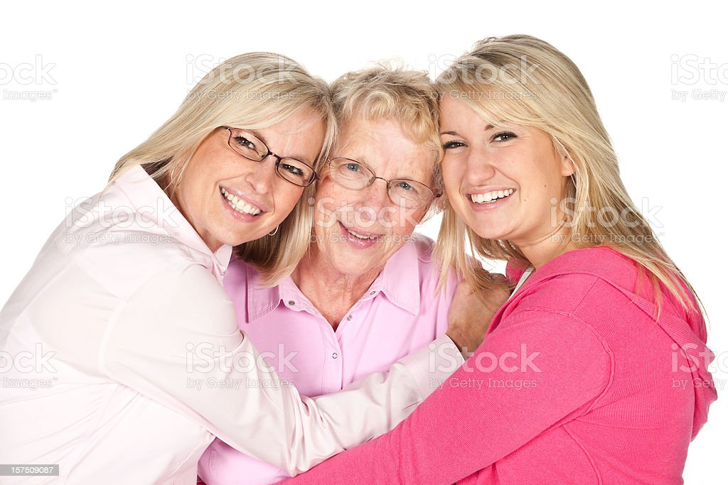 Three Generation blonde mother daughter and granddaughter. royalty-free stock photo