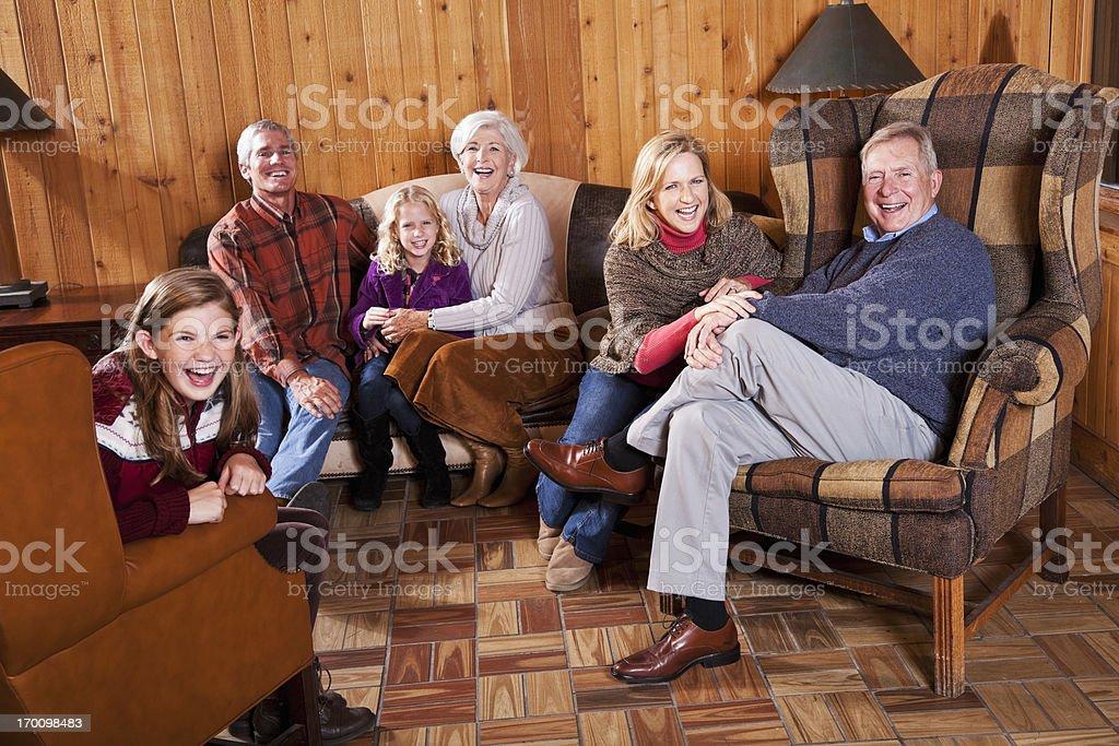 Three generation family in cabin royalty-free stock photo