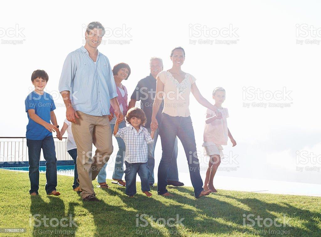 Three generation family on a sunny day stock photo