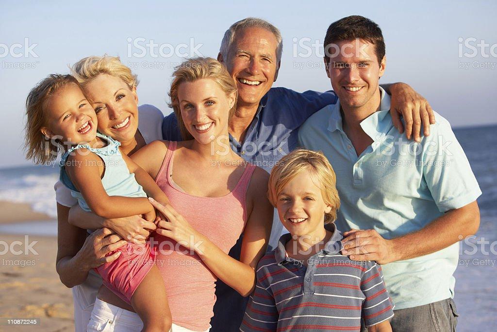 Three Generation Family On Beach Holiday royalty-free stock photo