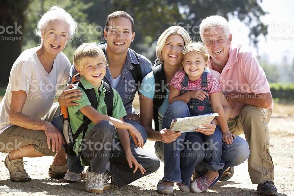 Three generation family on country walk royalty-free stock photo