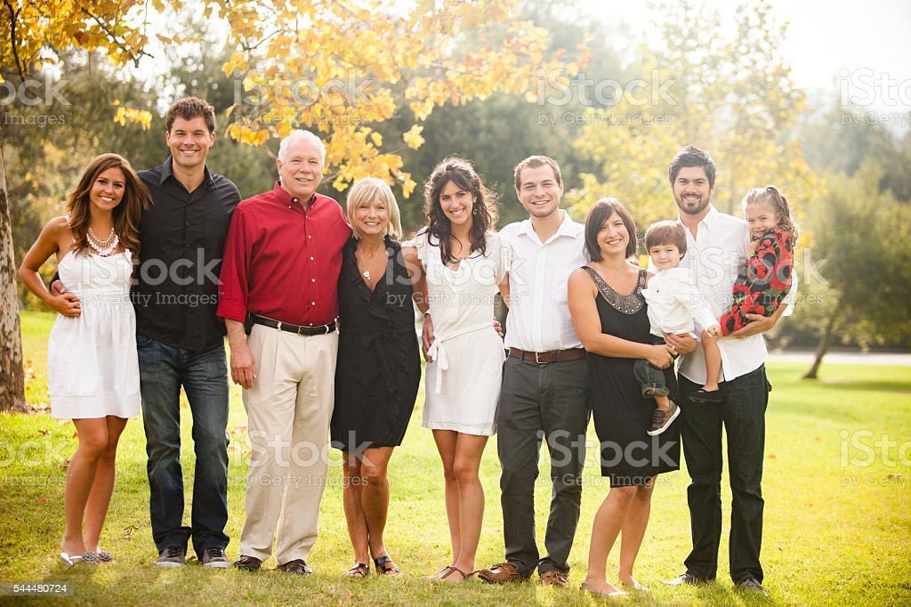 Three Generation Family Portrait stock photo