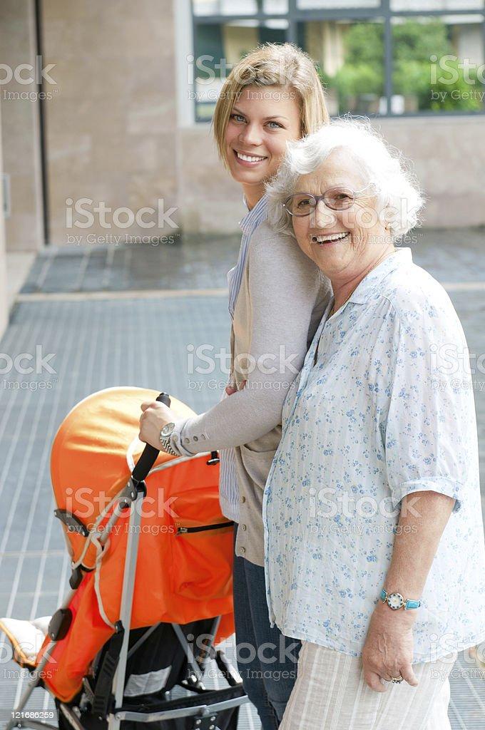 Three generation family taking a walk royalty-free stock photo