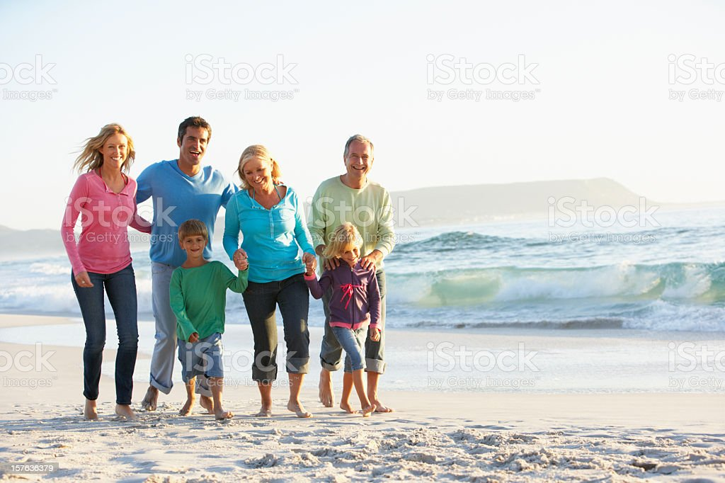 Three generation of a family on a vacation together royalty-free stock photo