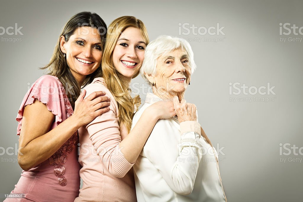 Three generation - portrait of a cheerful family royalty-free stock photo