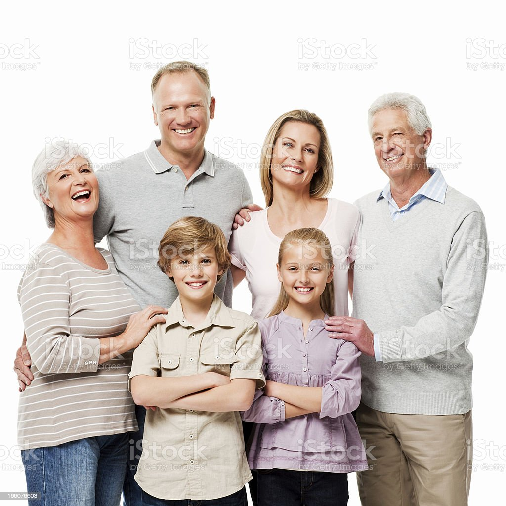 Three Generational Family Portrait - Isolated royalty-free stock photo