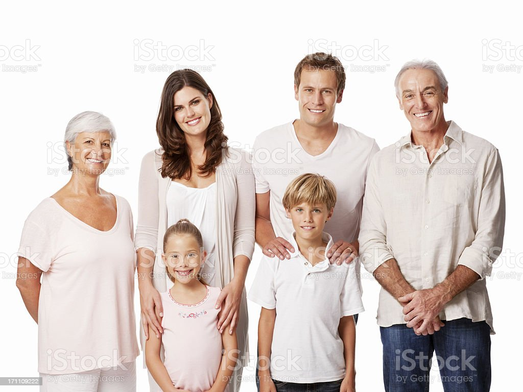 Three Generational Family Portrait - Isolated royalty-free stock photo