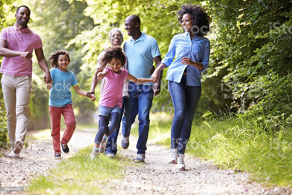 Three generations of an African American family outdoors stock photo