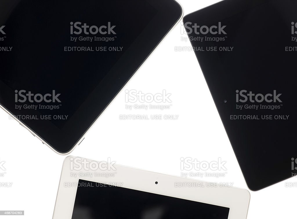 Three generations of Apple iPad tablet computers (Isolated) royalty-free stock photo