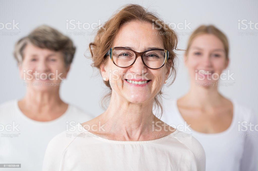 Three generations of female family stock photo