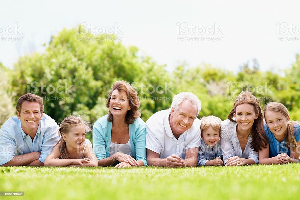 Three generations of love and laughter stock photo