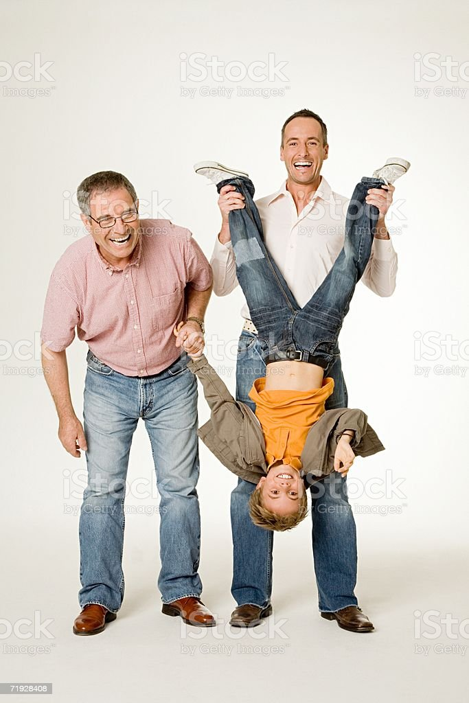 Three generations of males stock photo