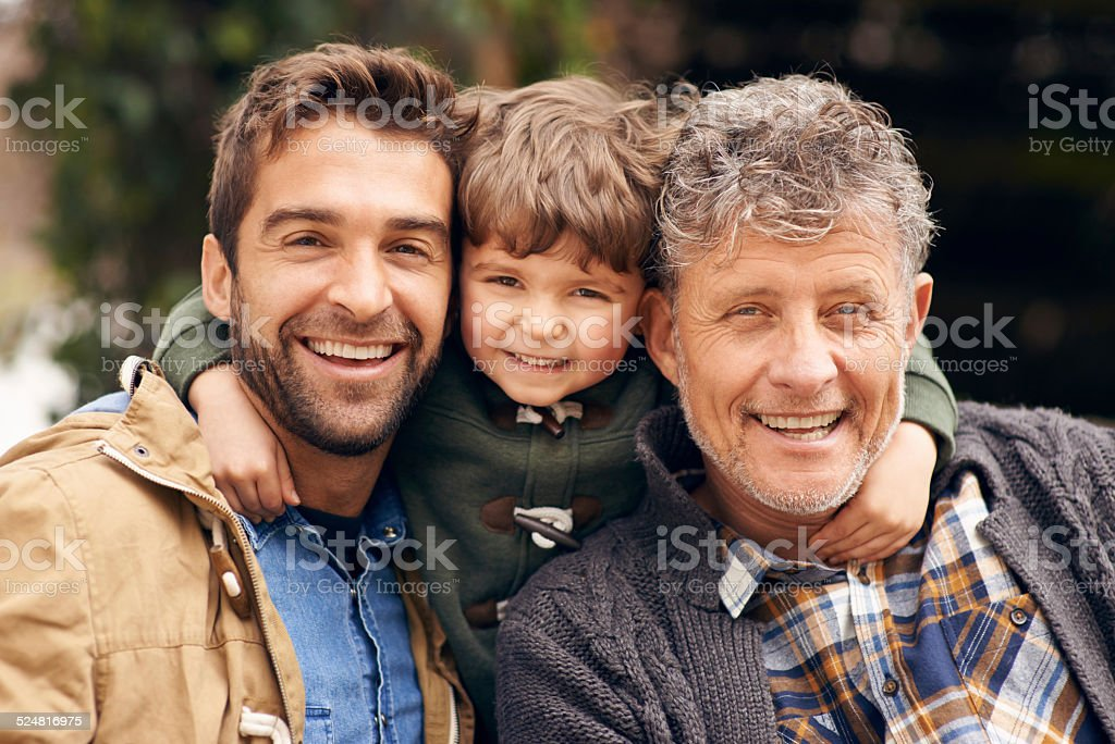 Three generations of the boys stock photo