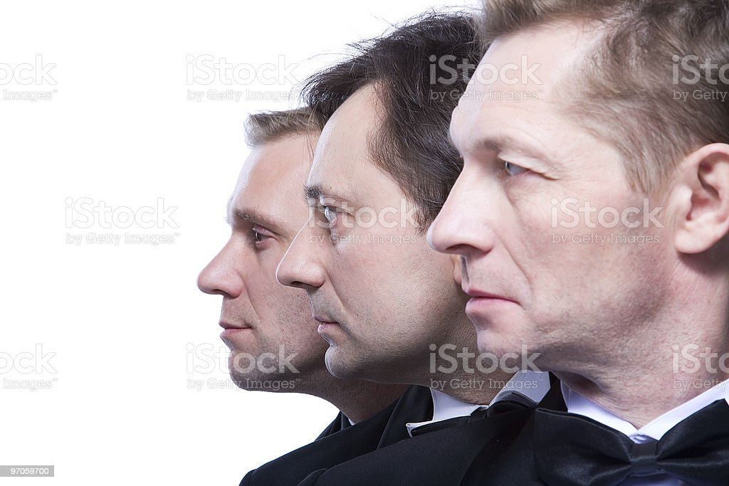 three gentlemen on a white background royalty-free stock photo