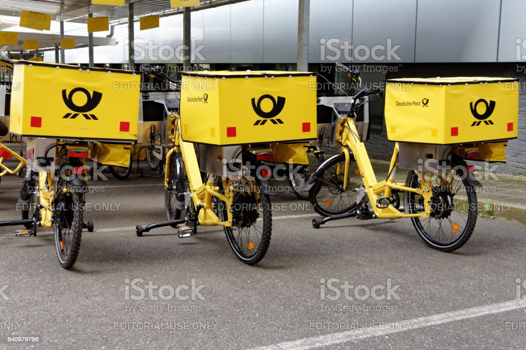 three german post bicycles stock photo