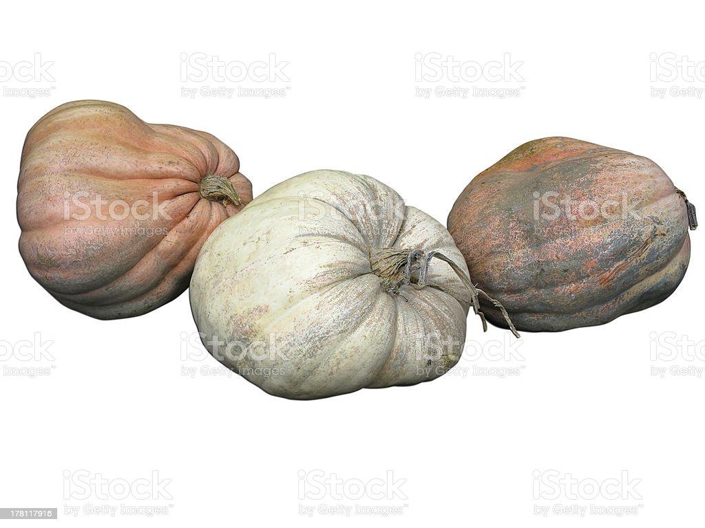 Três gigantes abóboras isolado a branco foto de stock royalty-free