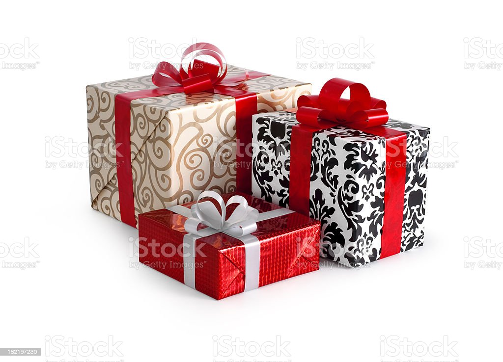 Three Gift Boxes w/clipping path royalty-free stock photo