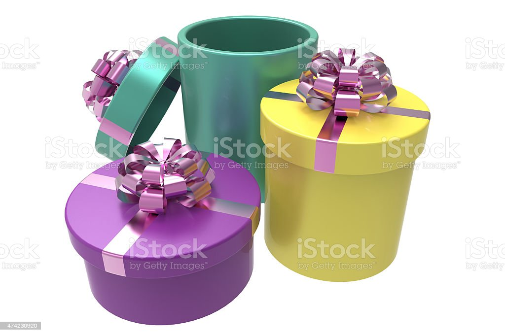 three gift boxes with shiny red bowknots stock photo