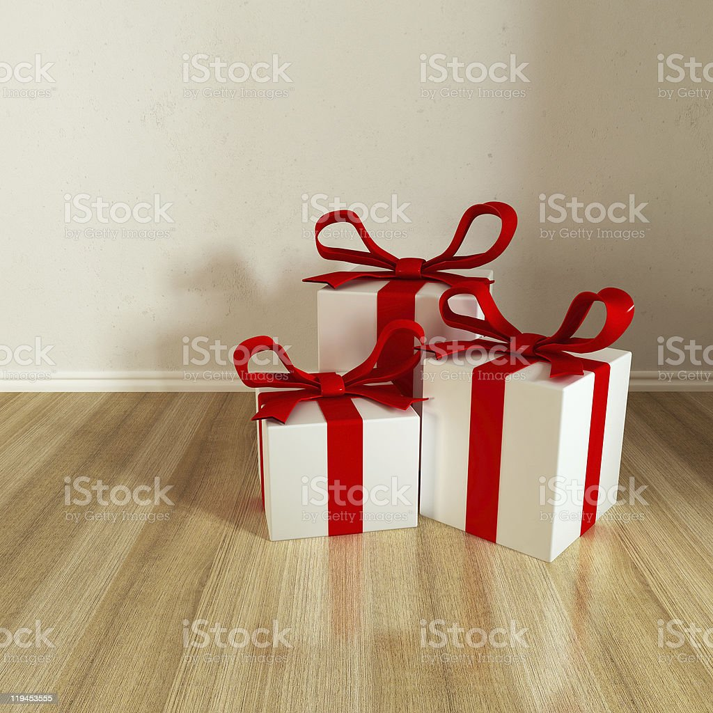 three gift royalty-free stock photo