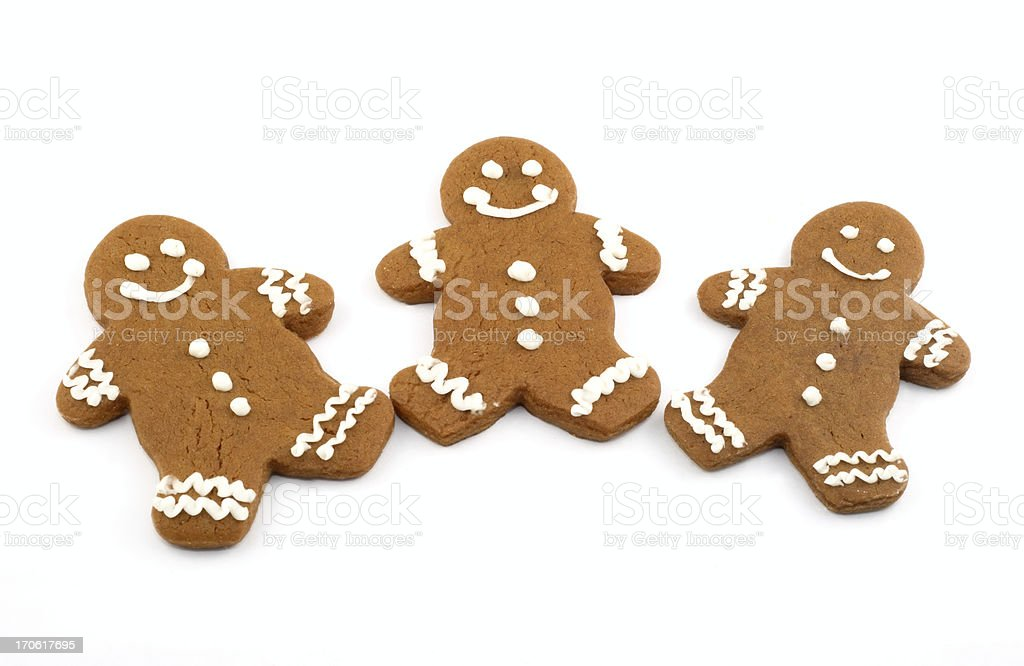 Three Gingerbread Cookies royalty-free stock photo