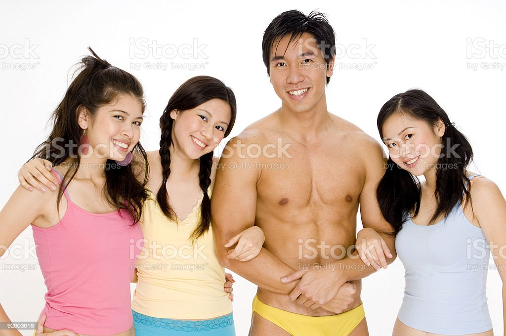 Three Girls and a Guy royalty-free stock photo