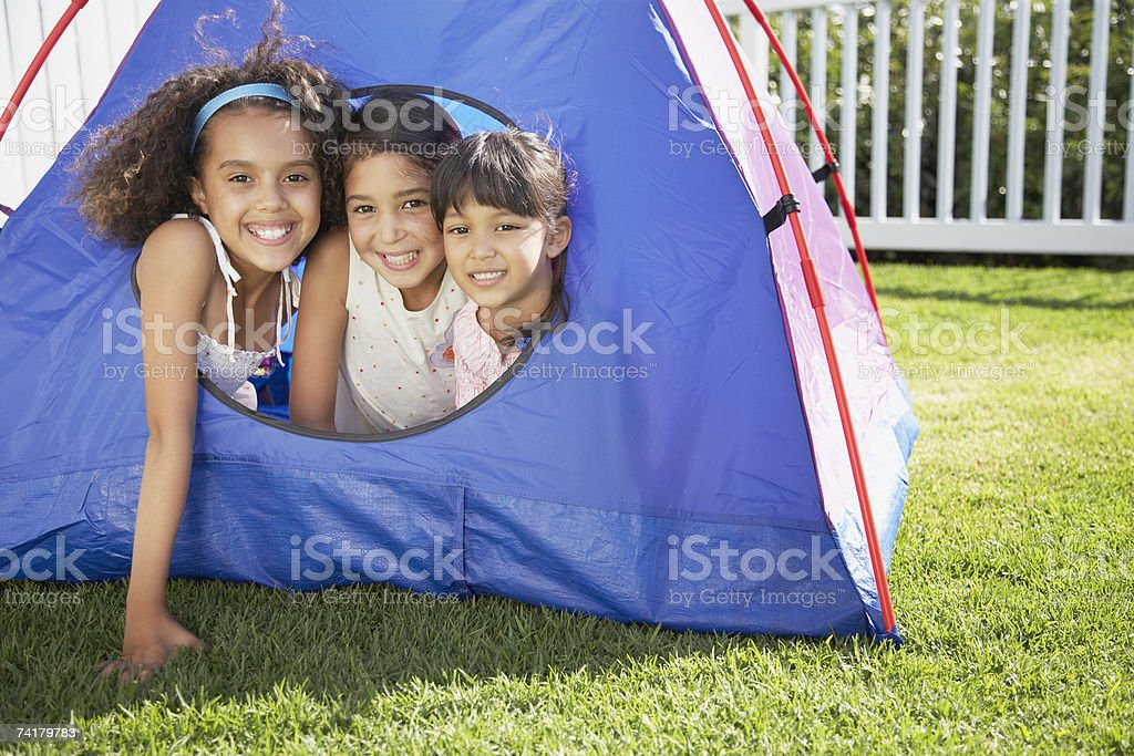 Three girls in tent royalty-free stock photo
