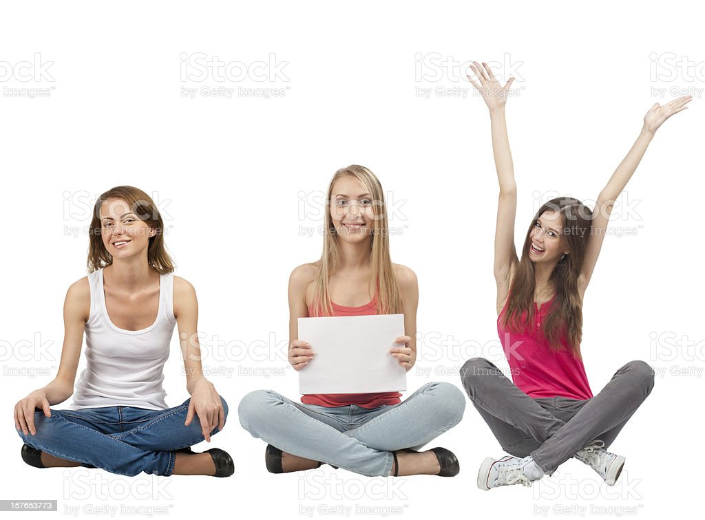 Three girls with blank signboard royalty-free stock photo