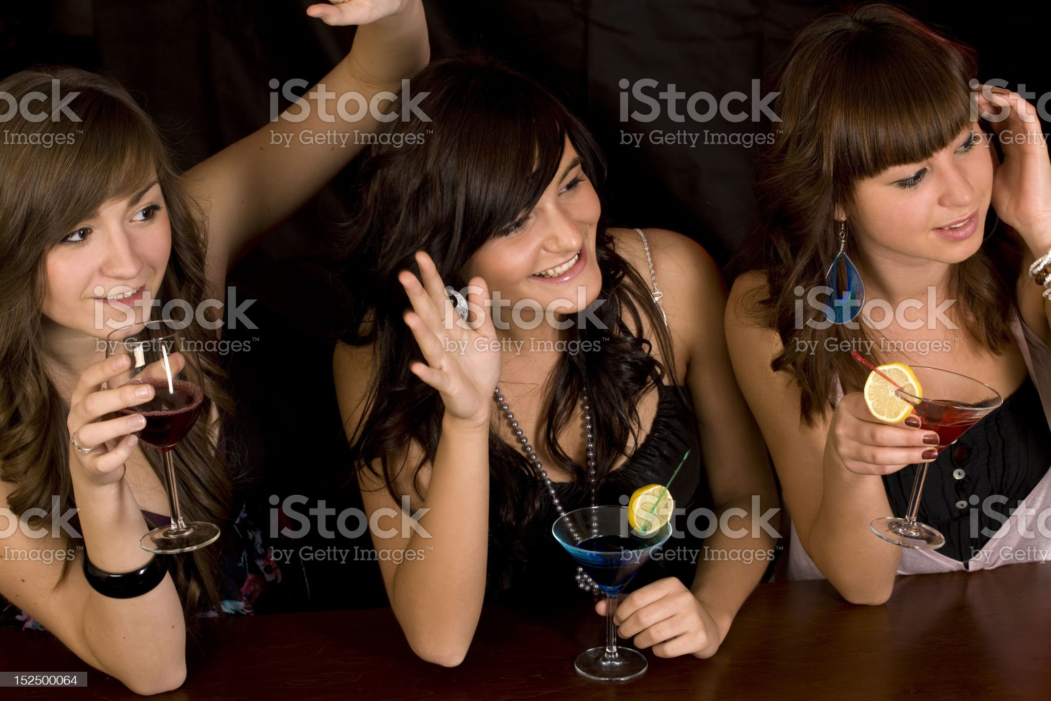 three girls with coctail royalty-free stock photo