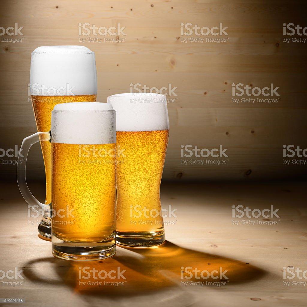 Three glasses of beer stock photo