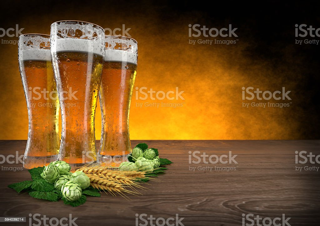 three glasses of beer with barley and hops. 3D render stock photo