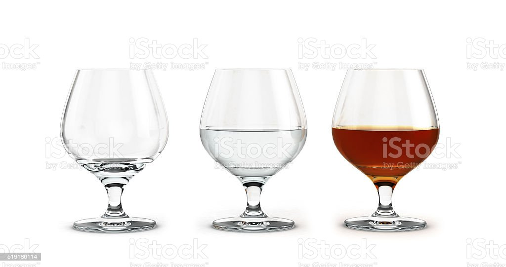 three glasses of brandy to empty the water and alcohol stock photo
