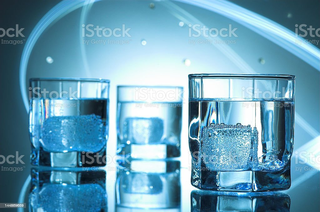 three glasses of  pure mineral water royalty-free stock photo