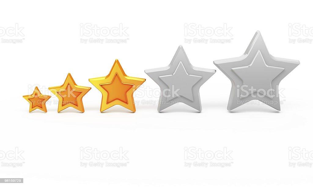 Three gold stars for ranking royalty-free stock photo