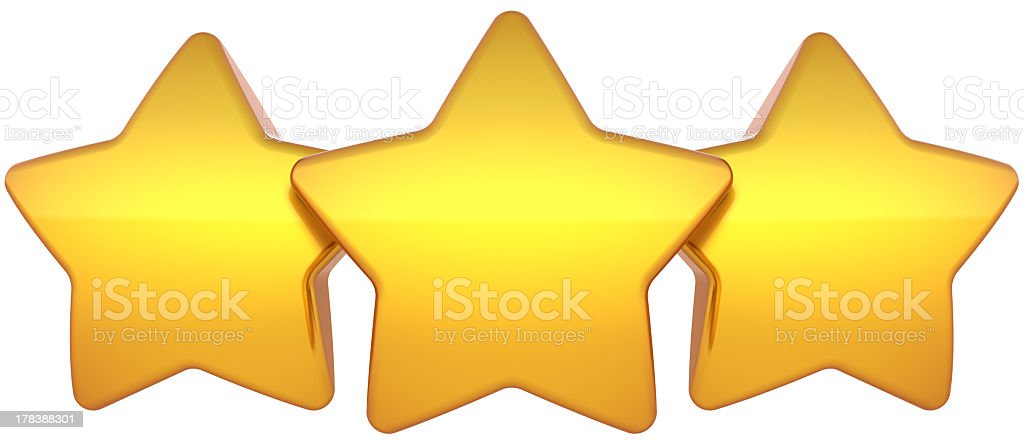 Three gold stars royalty-free stock photo