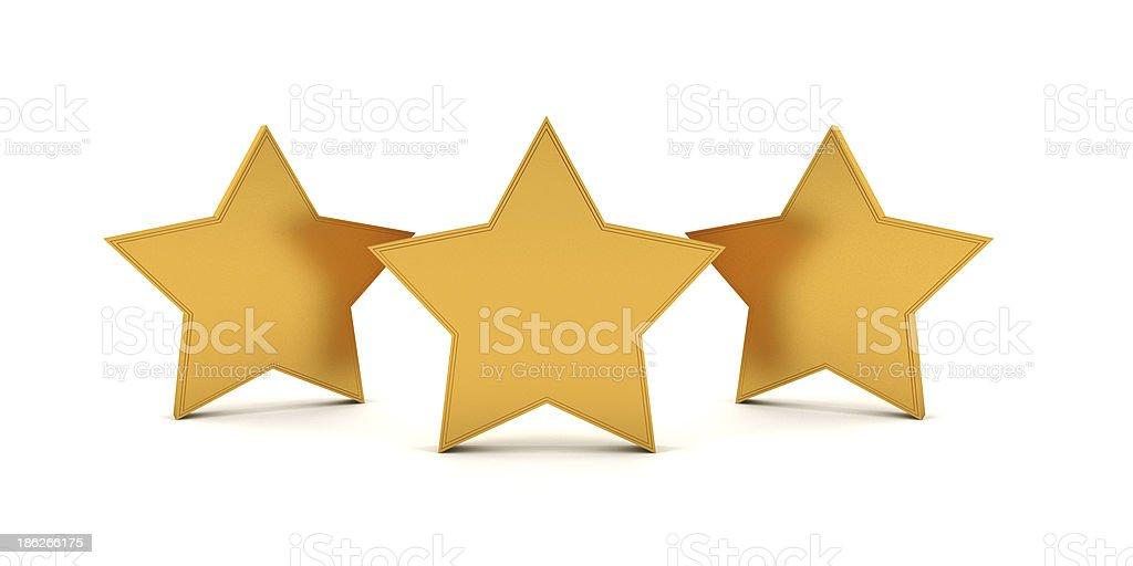 3D three gold stars stock photo