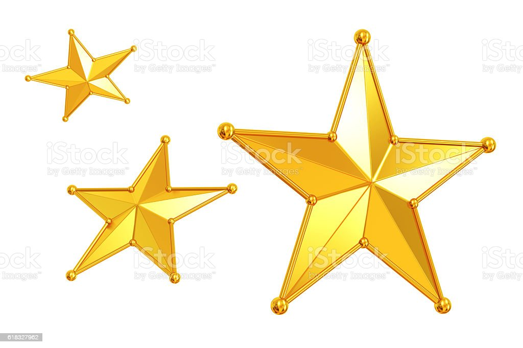 Three gold Stars stock photo